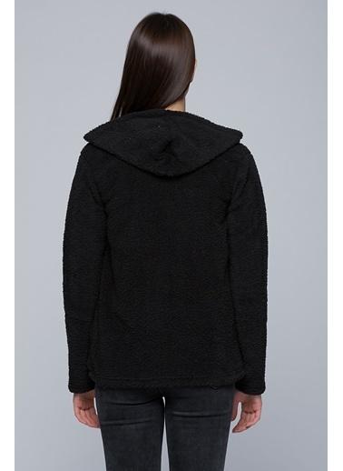 Cottonmood 7434323 Welsh Fermuarlı Cepli Kapüşonlu Sweatshirt Siyah